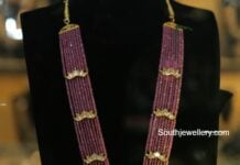 ruby beads haram with gold pendant