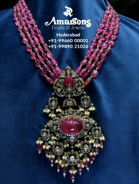 ruby beads necklace with victorian pendant