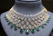 simple diamond emerald choker (1)