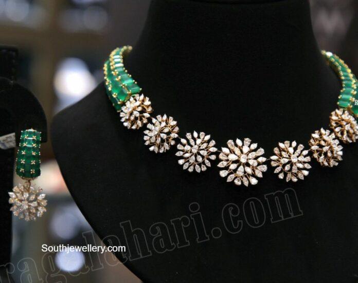 simple diamond emerald choker set