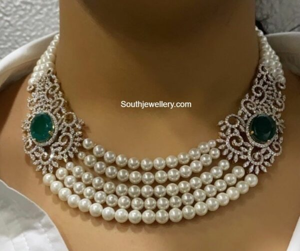 south sea pearl necklace with diamond side pendants