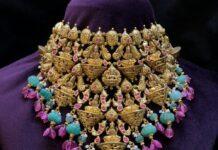 antique gold lakshmi choker