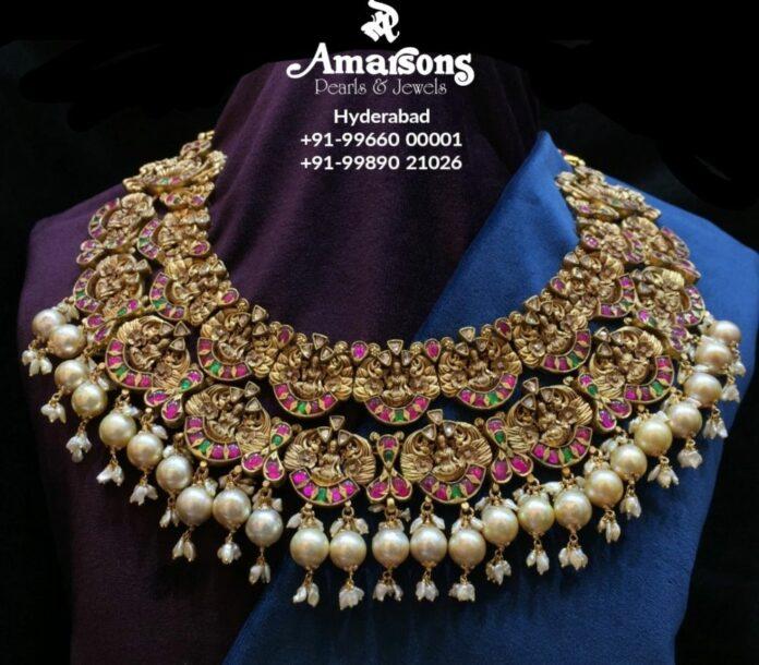 antique gold lakshmi necklace (1)