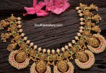antique gold lakshmi pearl necklace