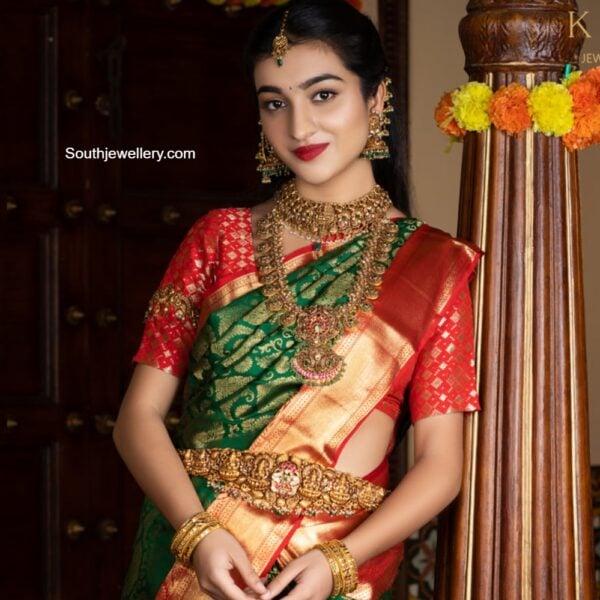 antique gold nakshi bridal temple jewellery set