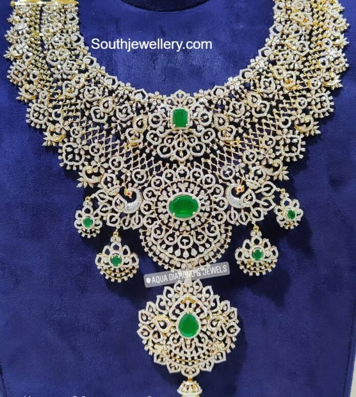 bridal diamond and emerald necklace
