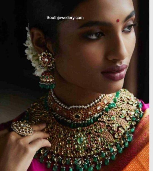 bridal kundan choker and jhumkas