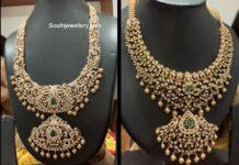 closed setting diamond haram with pendants manjula