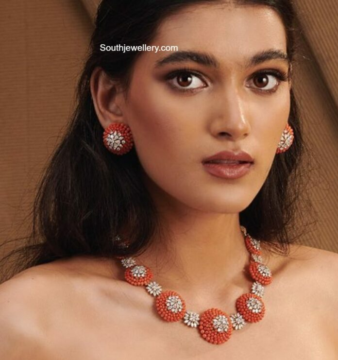 diamond and coral necklace set shree jewellers