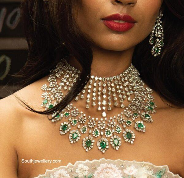diamond choker and diamond emerald necklace
