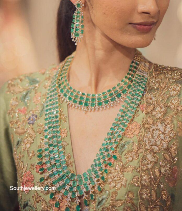 diamond emerald jewellery set shree jewellers
