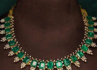 diamond emerald necklace ratna garba
