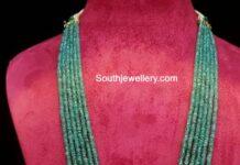 emerald beads haram with polki pendant kanosia