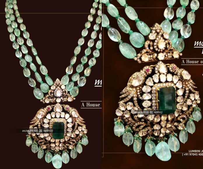emerald beads necklace with polki pendant