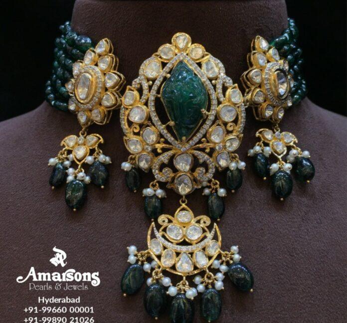 emerald polki choker (1)