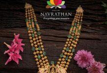 gold balls haram with kundan pendant