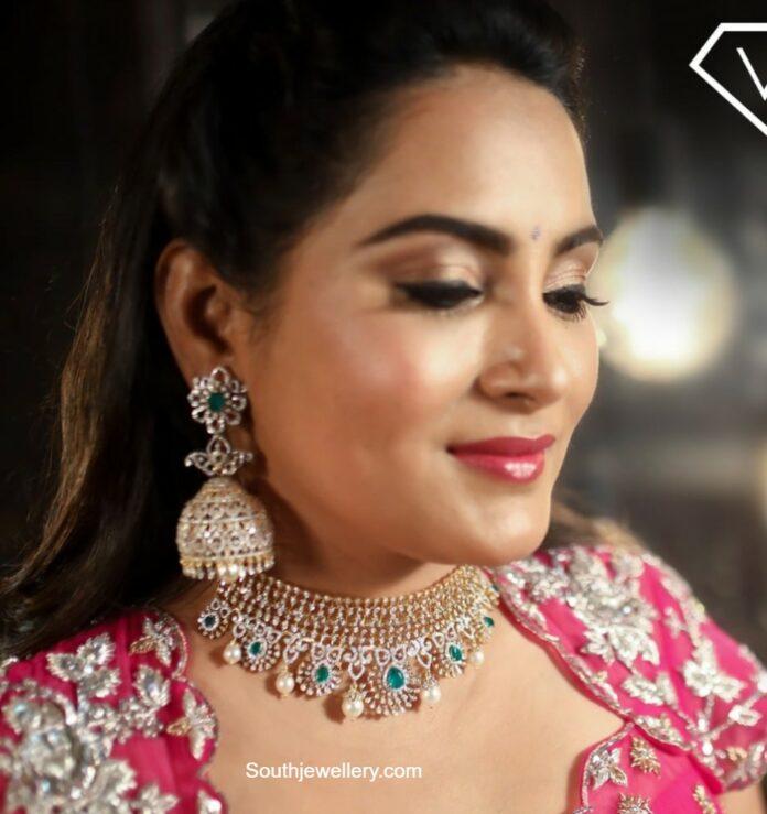 himaja in diamond choker and jhumkas set