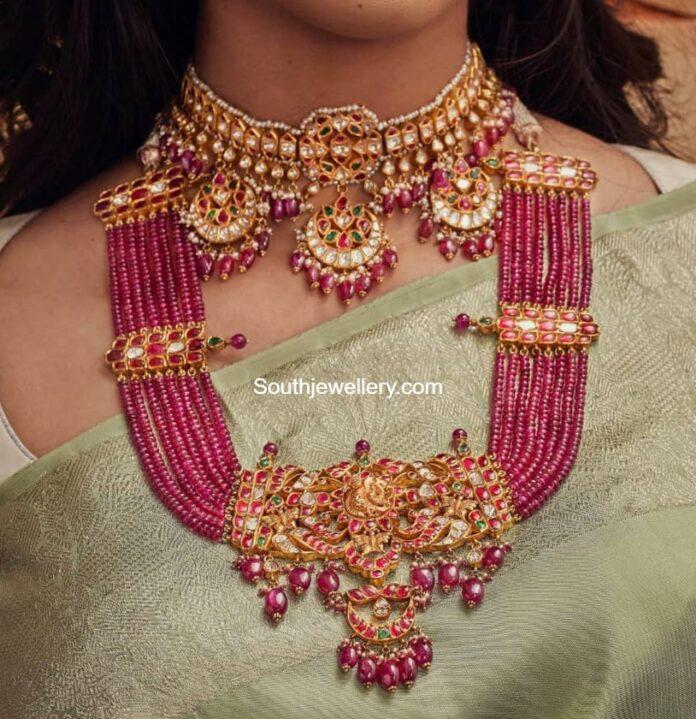 kundan choker and ruby beads haram