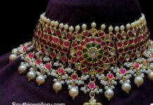 kundan choker with lakshmi pendant