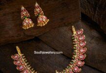 kundan mango necklace and jhumkas
