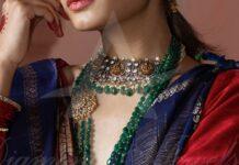 lakshmi choker and emerakd beads haramn