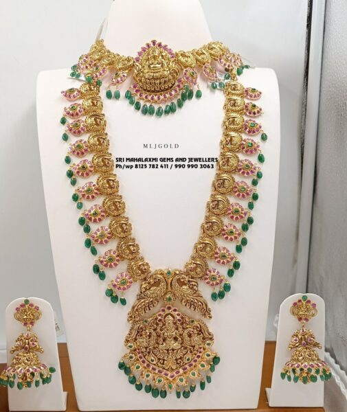 lakshmi necklace, haram and vaddanam set