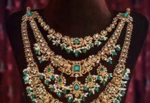 layered nakshi peacock diamond haram