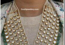 layered pearl polki haram