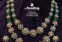 layered polki emerald necklace set