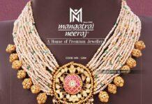 multi-strand pearl necklace with kundan pendant