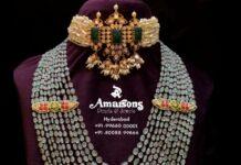 pearl choker and layered emerald beads haram