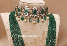 polki emerald choker and emerald beads mala