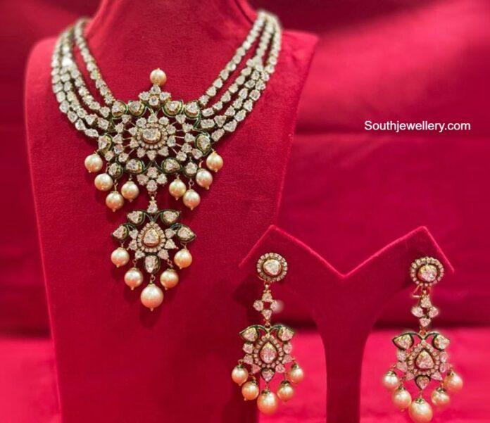 rose cut diamond necklace set kishandas