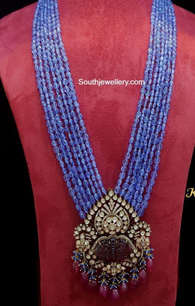 tanzanite beads haram with victorian pendant