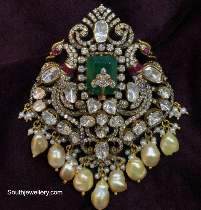 victorian peacock pendant