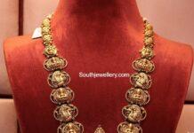 antique gold lakshmi peacock haram