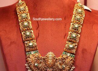 antique gold peacock nakshi haram (2)