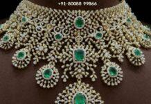 bridal diamond and emerald choker