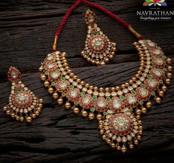kundan necklace set navrathan
