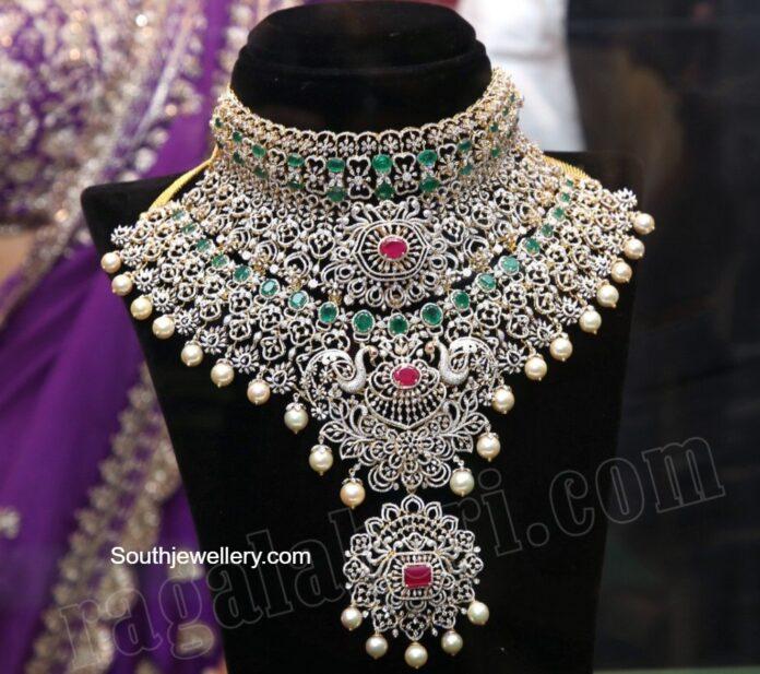 layered bridal diamond emerald choker
