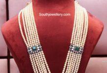 multi-strand pearl haram with victroain polki pendant