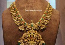 peacock haram with lakshmi pendant