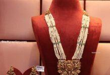 pearl haram with gold pendant and jhumkas