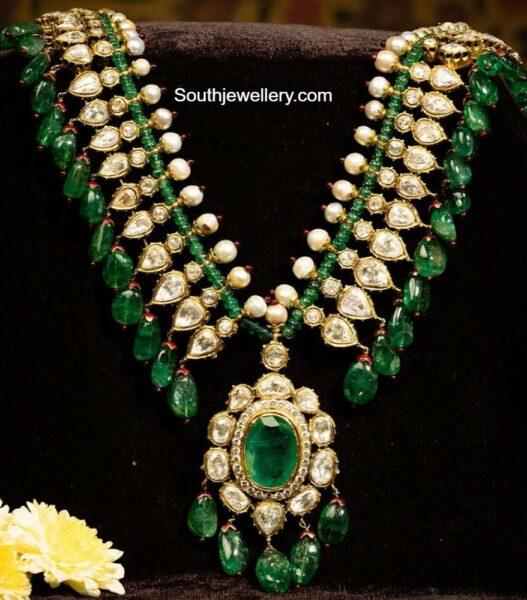 polki emerald necklace kishandas