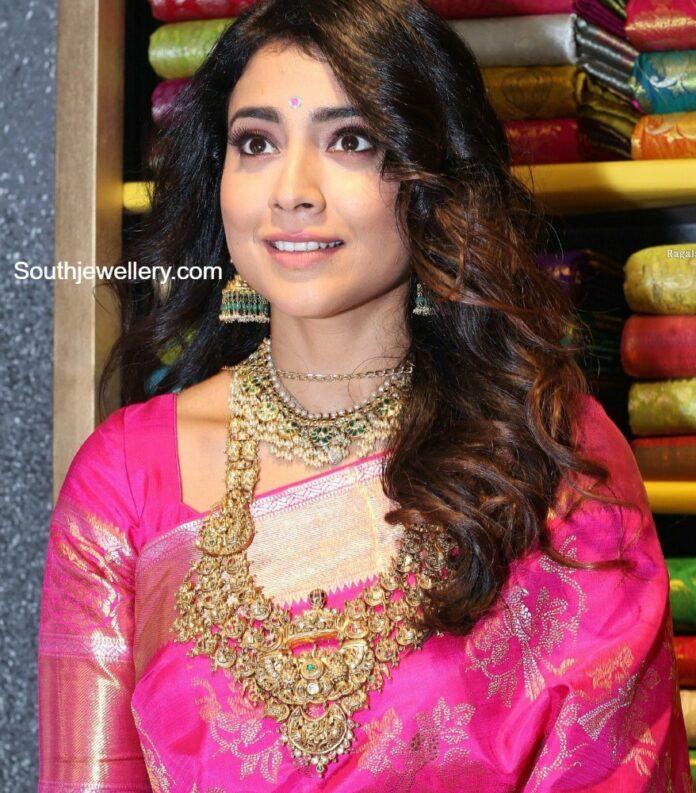 shriya saran in guttapusalu necklace and gold haram (2)