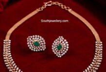 simple diamond emerald choker set neelkanth