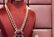 two line pearl necklace with polki ruby pendant